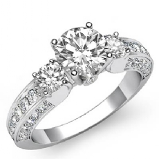 3 Stone Sidestone Bezel Round diamond engagement Ring in 14k Gold White