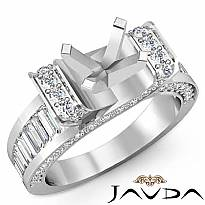 2Ct Round Baguette Diamond Engagement Antique Ring Setting 14k W Gold Semi Mount