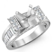 2Ct Round Baguette Diamond Engagement Antique Ring Setting 14k White Gold Semi Mount - javda.com