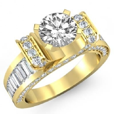 Baguette Channel Set 4 Prong Round diamond  Ring in 14k Gold Yellow