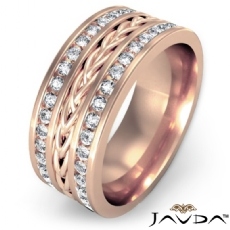 Braided Design  Diamond Men's Eternity Wedding Band 14k Rose Gold (1.75Ct. tw.)