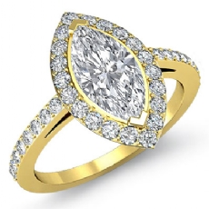 Sidestone Halo Pave Filigree Marquise diamond engagement Ring in 14k Gold Yellow