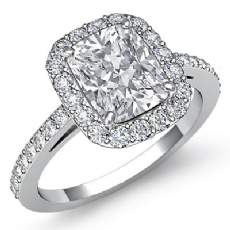 Sidestone Halo Pave Filigree Cushion diamond engagement Ring in 14k Gold White