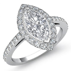 Sidestone Halo Pave Filigree Marquise diamond engagement Ring in 14k Gold White