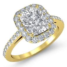 Sidestone Halo Pave Filigree Cushion diamond engagement Ring in 14k Gold Yellow