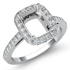 0.45ct Diamond Engagement Ring Cushion Semi Mount 14K White Gold Halo Setting