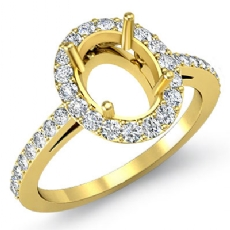 Halo Pave Setting Diamond Engagement Oval Semi Mount Ring 18k Gold Yellow (0.45Ct. tw.)