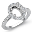 0.45Ct Halo Pave Setting Diamond Engagement Oval Semi Mount Ring 14k White Gold - javda.com