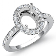 0.45ct Halo Pave Setting Diamond Engagement Oval Semi Mount Ring 14K White Gold