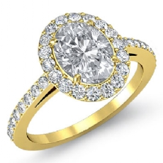 Single Halo Sidestone Pave Oval diamond engagement Ring in 18k Gold Yellow