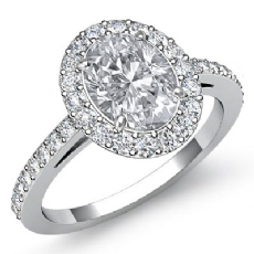Single Halo Sidestone Pave Oval diamond engagement Ring in Platinum 950