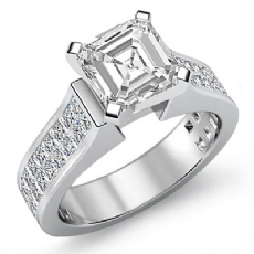 Invisible Shank Sidestone Asscher diamond engagement Ring in 14k Gold White