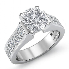 Invisible Shank Sidestone Cushion diamond engagement Ring in 14k Gold White