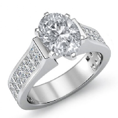 Invisible Shank Sidestone Oval diamond engagement Ring in 14k Gold White