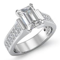 Invisible Shank Sidestone diamond Ring 14k Gold White