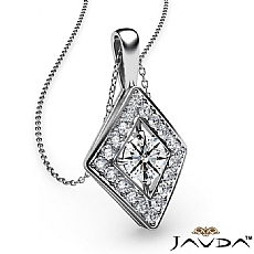 Kite Set Halo Pave Polish Bail diamond Pendant 14k Gold White