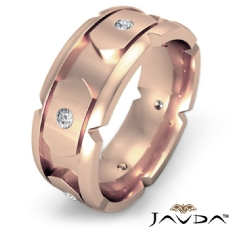 Designer Men's Round Diamond Eternity Wedding Band in 14k Rose Gold  (0.4Ct. tw.)