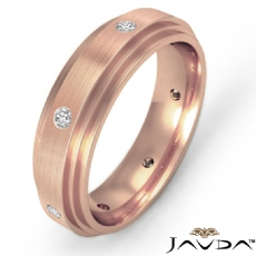 Diamond Eternity Men's Wedding Band Step Edge Brushed 18k Rose Gold (0.16Ct. tw.)