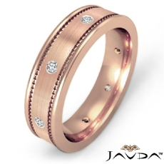 Brushed Finish  Diamond Eternity Men's Wedding Band 14k Rose Gold (0.16Ct. tw.)