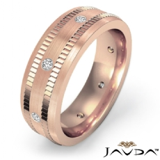 Ribbed Edges Matte Diamond Eternity Men's Wedding Band 14k Rose Gold  (0.16Ct. tw.)