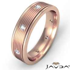 Parallel Grooves Diamond Eternity Men's Wedding Band 18k Rose Gold  (0.16Ct. tw.)