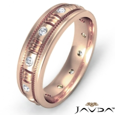 Round Edge Men's Bezel Diamond Eternity Wedding Band 14k Rose Gold  (0.25Ct. tw.)
