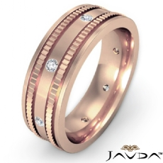 Bezel Men's Diamond Eternity Wedding Band Designer Edges 18k Rose Gold (0.16Ct. tw.)
