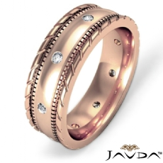 Rope & Milgrain Edge  Diamond Men's Eternity Wedding Band 14k Rose Gold (0.16Ct. tw.)