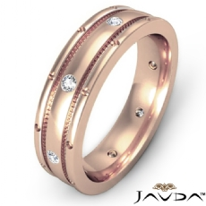 Center Dome Men's Bezel Diamond Eternity Wedding Band 18k Rose Gold  (0.16Ct. tw.)