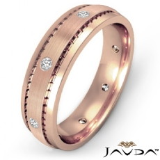 Men's Diamond Eternity Wedding Band Matte Bezel Set 14k Rose Gold  (0.16Ct. tw.)