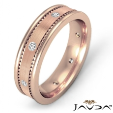 Brushed Bezel Set Men's Diamond Eternity Wedding Band 18k Rose Gold  (0.16Ct. tw.)