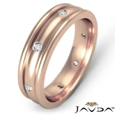 Men's Diamond Eternity Dome Wedding Band Bezel Set 14k Rose Gold  (0.16Ct. tw.)