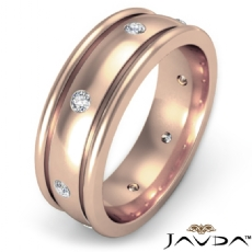 Dome Bezel Set Men's Diamond Eternity Wedding Band 18k Rose Gold  (0.16Ct. tw.)