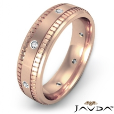 Ribbed Edges Diamond Eternity Men's Wedding Band 18k Rose Gold  (0.16Ct. tw.)