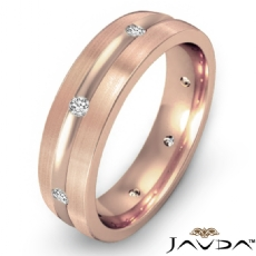 Brushed Finish Men's Diamond Eternity Wedding Band 18k Rose Gold  (0.16Ct. tw.)