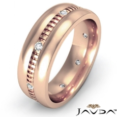 Dome Vertical Cuts Men's Diamond Eternity Wedding Band 14k Rose Gold  (0.16Ct. tw.)
