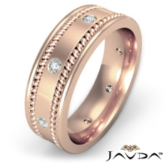 Rope Edges Bezel Diamond Eternity Men's Wedding Band 14k Rose Gold  (0.2Ct. tw.)