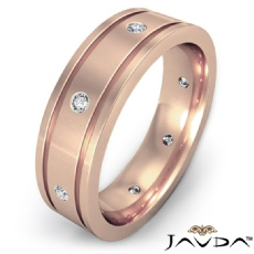 Flat Edges Bezel Diamond Eternity Men's Wedding Band 18k Rose Gold (0.2Ct. tw.)
