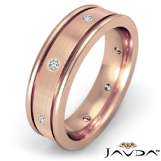 Brushed Center Bezel Diamond Men's Eternity Wedding Band 14k Rose Gold  (0.2Ct. tw.)