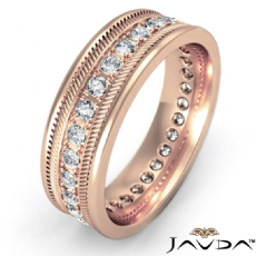 Pave Set Round Edge Diamond Eternity Men's Wedding Band 18k Rose Gold  (0.65Ct. tw.)