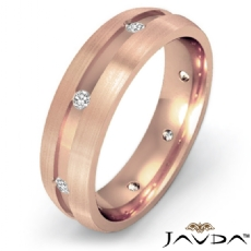 18k Rose Gold Matte Finish Men's Bezel Diamond Eternity Wedding Band  (0.2Ct. tw.)