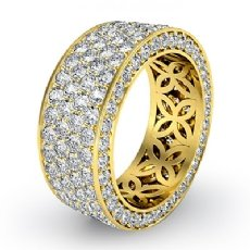 4 Row Pave Eternity Round Diamond Ring Womens Wedding Band 18k Gold Yellow  (3.5Ct. tw.)