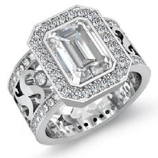 Halo Bezel Set Filigree Shank Emerald diamond engagement Ring in 14k Gold White