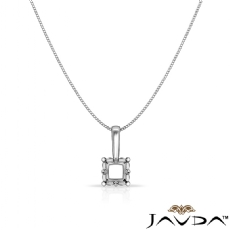 Prong Set Cushion Cut Diamond Solitaire Semi Mount Bail Pendant 14k White Gold