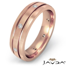 Brushed Finish Bezel Diamond Eternity Men's Wedding Band 18k Rose Gold  (0.2Ct. tw.)