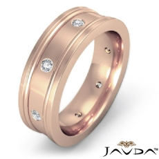 Bezel Diamond Eternity Flat Edges Men's Wedding Band 14k Rose Gold (0.15Ct. tw.)