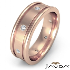 Diamond Eternity Men's Wedding Band Grooved Round Edges 14k Rose Gold  (0.15Ct. tw.)