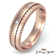 Tire Tread Pattern Diamond Men's Eternity Dome Wedding Band 14k Rose Gold  (0.16Ct. tw.)