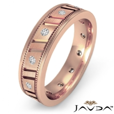 Vertical Groove Men's Diamond Carved Eternity Wedding Band 18k Rose Gold  (0.25Ct. tw.)