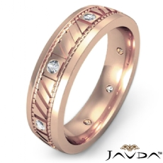 Bezel Set Diamond Men's Carved Eternity Wedding Band 14k Rose Gold  (0.15Ct. tw.)